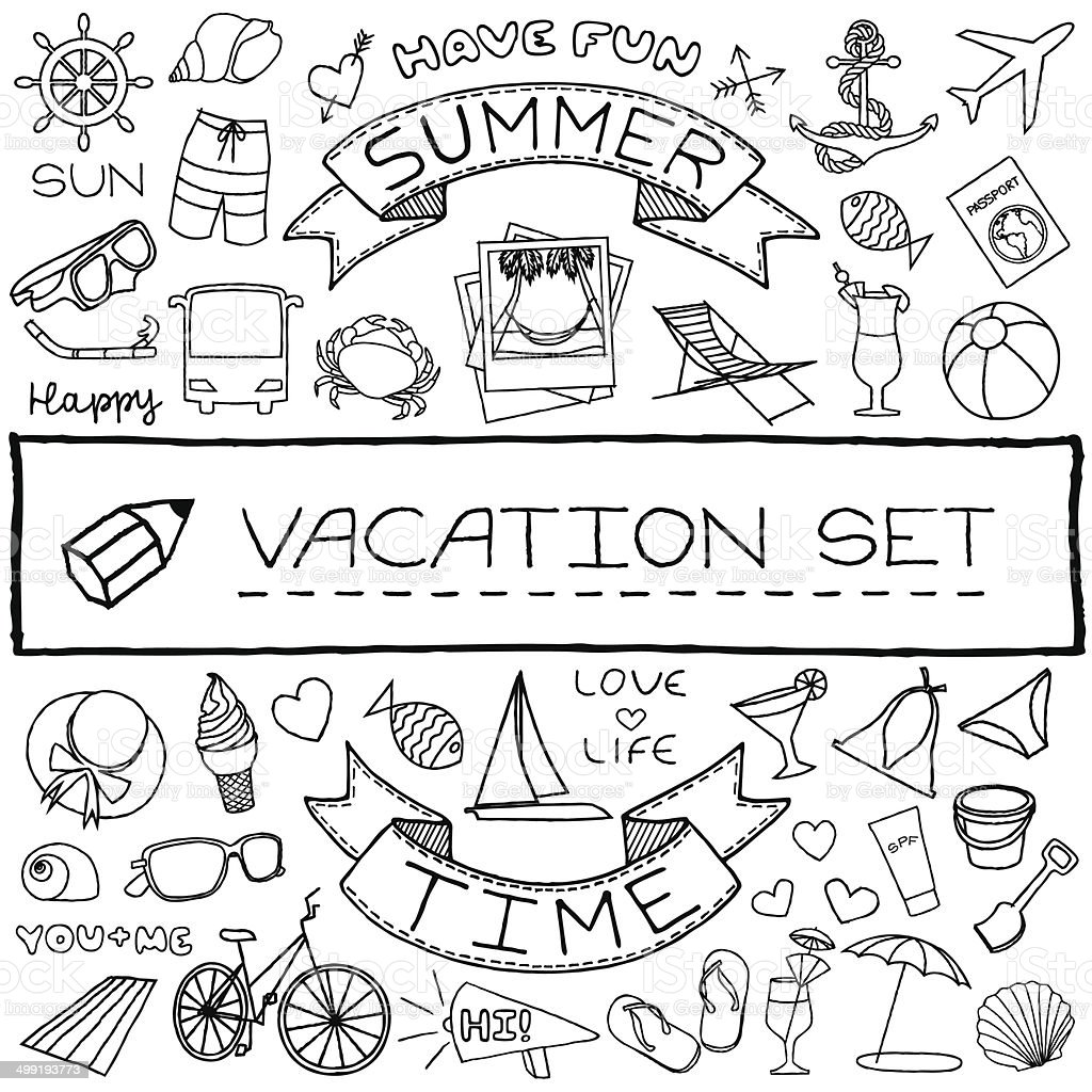Hand drawn vacation icons set. Vector illustration. vector art illustration