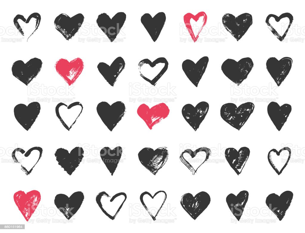 Hand drawn valentine day doodle hearts. vector art illustration