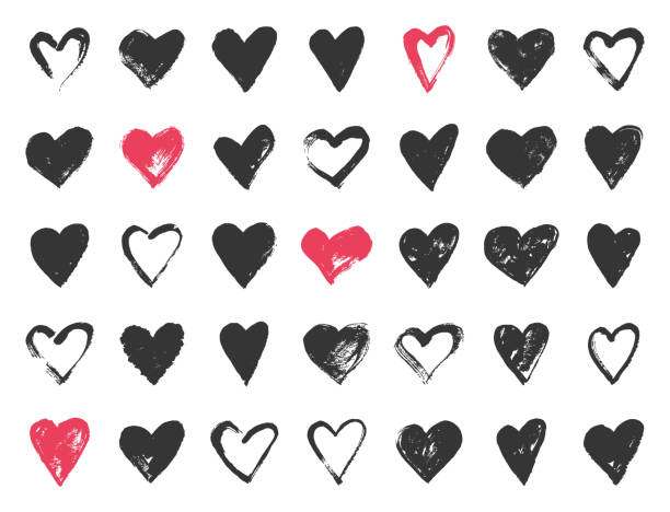 hand drawn valentine day doodle hearts. - serce symbol idei stock illustrations