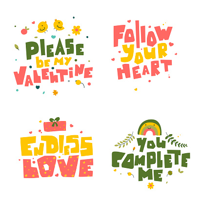 Hand drawn valentine day quotes, vector abstract background.