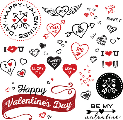 Hand Drawn Valentines Day and Heart elements