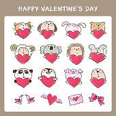 Hand drawn valentine's day cute animals and hearts set (cat, dog, rabbit, bear, sheep, koala bear, porcupine, mouse, panda bear, penguin, pig, sea otter, bird, heart, letter, ribbon)