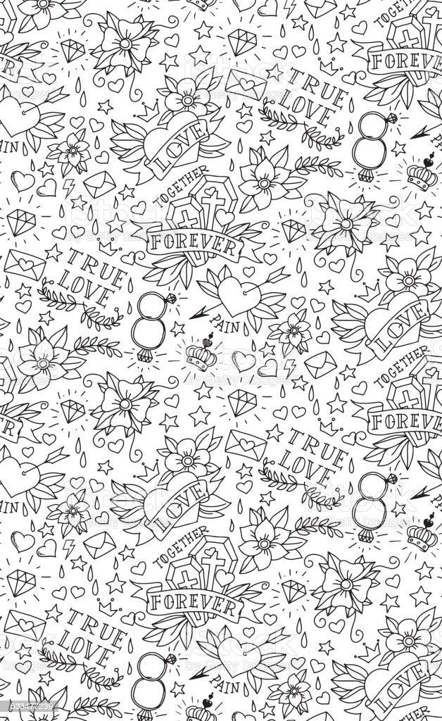 Hand drawn Valentinstag-tattoo Muster – Vektorgrafik