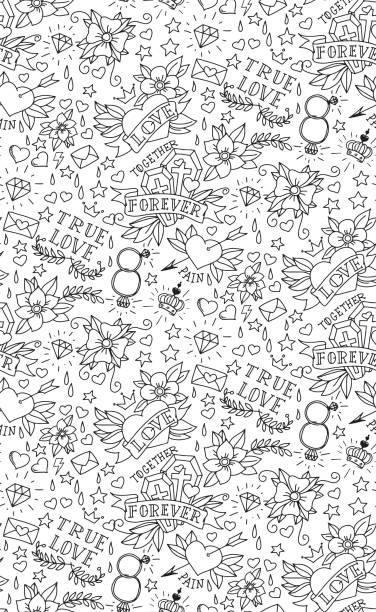 Dibujados a mano patrón de San Valentín tatuaje - ilustración de arte vectorial