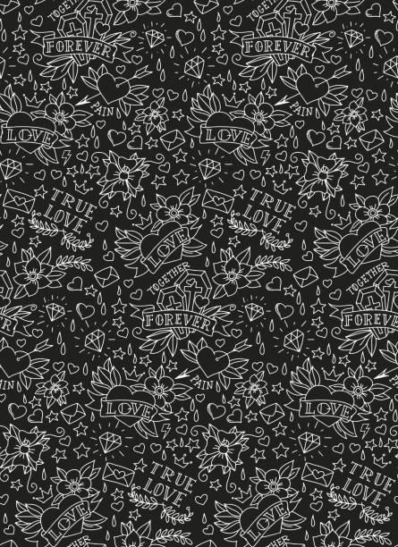 手描きのバレンタインデータトゥー模様 - 星のタトゥー点のイラスト素材/クリップアート素材/マンガ素材/アイコン素材