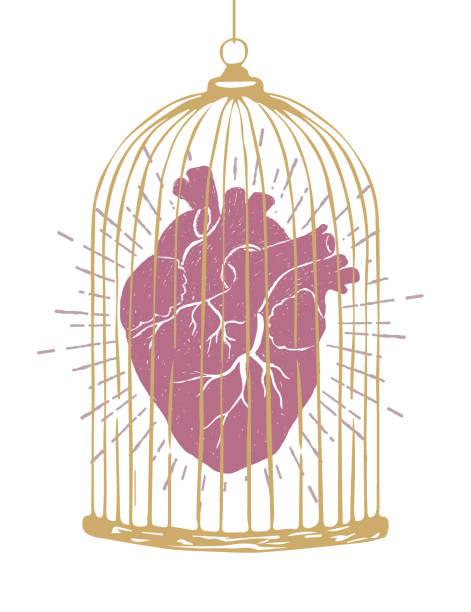 illustrations, cliparts, dessins animés et icônes de main a attiré valentin sur le thème poster avec cœur texturé illustration vectorielle. - dessin cage a oiseaux