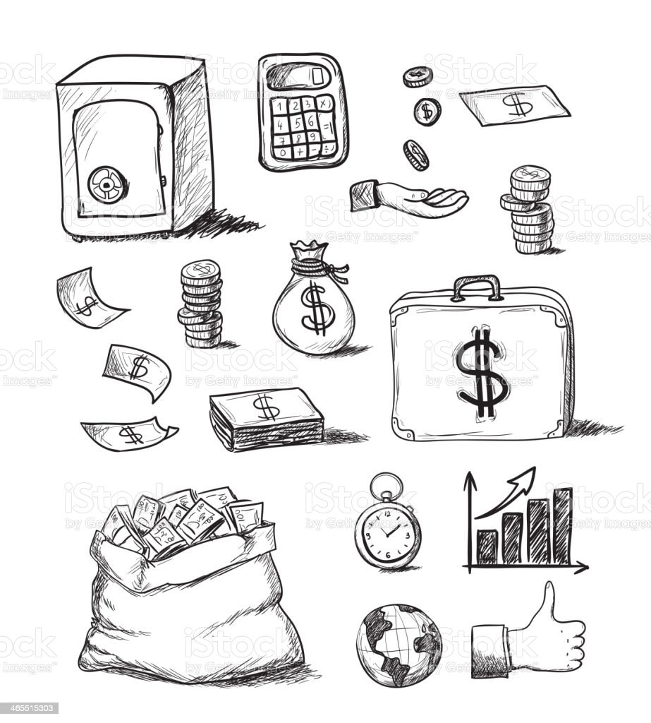 Hand drawn variety of business icons vector art illustration