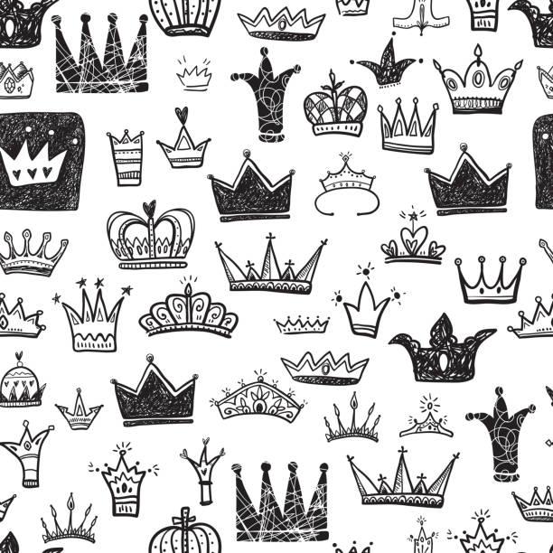 Dessiné de main divers couronnes ensemble, vecteur illustration doodle style - Illustration vectorielle