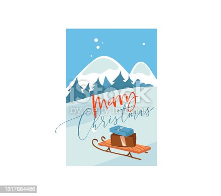 istock Hand drawn vector abstract flat Merry Christmas,and Happy New Year cartoon festive card with cute illustrations of big surprise present box outdoor on winter landscape isolated on white background 1317664486