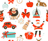 Hand drawn vector abstract fun stock flat Merry Christmas,and Happy New Year time cartoon festive seamless pattern with cute illustrations,of Xmas Santa Claus and cookies isolated on color background.