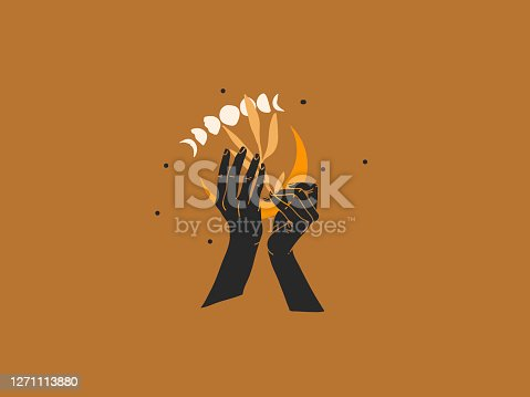 istock Hand drawn vector abstract stock flat graphic illustration with logo elements ,moon in human hand , magic line art in simple style for branding ,isolated on color background 1271113880