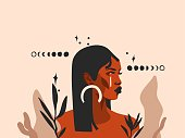 istock Hand drawn vector abstract stock flat graphic illustration with ethnic tribal black beautiful african american woman,sun and magic moon phases in simple style ,isolated on pastel background 1306105135