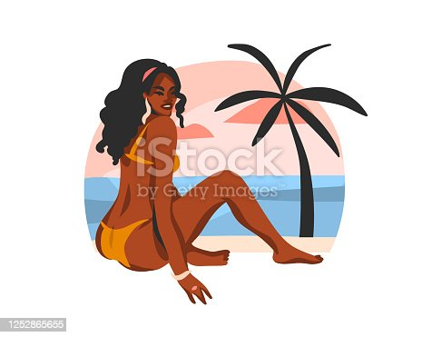 Hand drawn vector abstract stock flat graphic illustration with young happy black afro american beauty woman ,in swimsuit on sundown beach scene isolated on white background