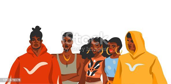 istock Hand drawn vector abstract stock flat graphic illustration with young black afro american beauty people group in fashion outfit isolated on white background 1257378378