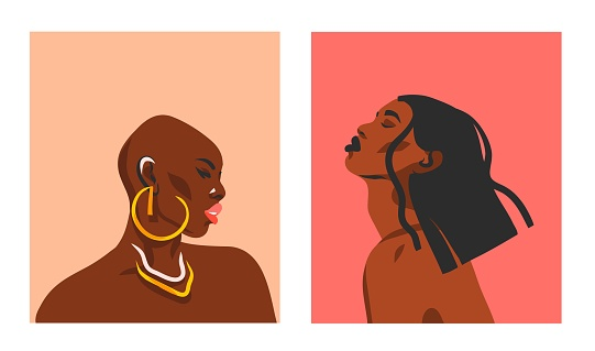 Hand drawn vector abstract stock flat graphic illustrations with ethnic bohemian tribal black,beautiful african american women collection portrait set isolated on color background