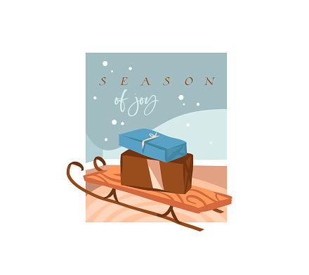 Hand drawn vector abstract stock flat Merry Christmas,and Happy New Year time cartoon festive card with cute illustrations of Xmas sleigh and presents box gifts indoor isolated on white background