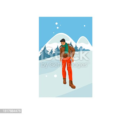 istock Hand drawn vector abstract stock flat Merry Christmas,and Happy New Year time cartoon festive card with cute illustrations of Xmas happy boy walking isolated on winter landscape background 1317664475