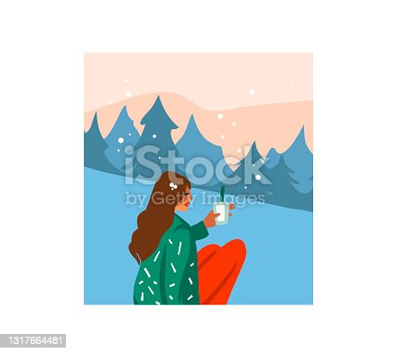 istock Hand drawn vector abstract stock flat Merry Christmas,and Happy New Year cartoon festive card with cute illustrations of young girl drink hot cocoa isolated on white background 1317664481
