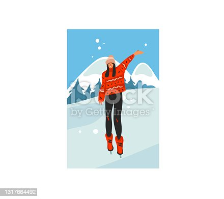 istock Hand drawn vector abstract stock flat Merry Christmas,and Happy New Year time cartoon festive card with cute illustrations of Xmas happy girl walking isolated on winter landscape background 1317664492