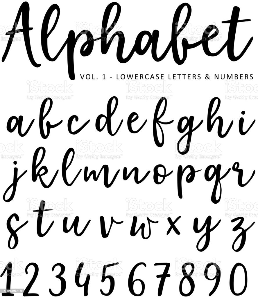 Hand drawn vector alphabet. Brush script font. Isolated lower case letters and numbers written with marker or ink. Calligraphy, lettering vector art illustration