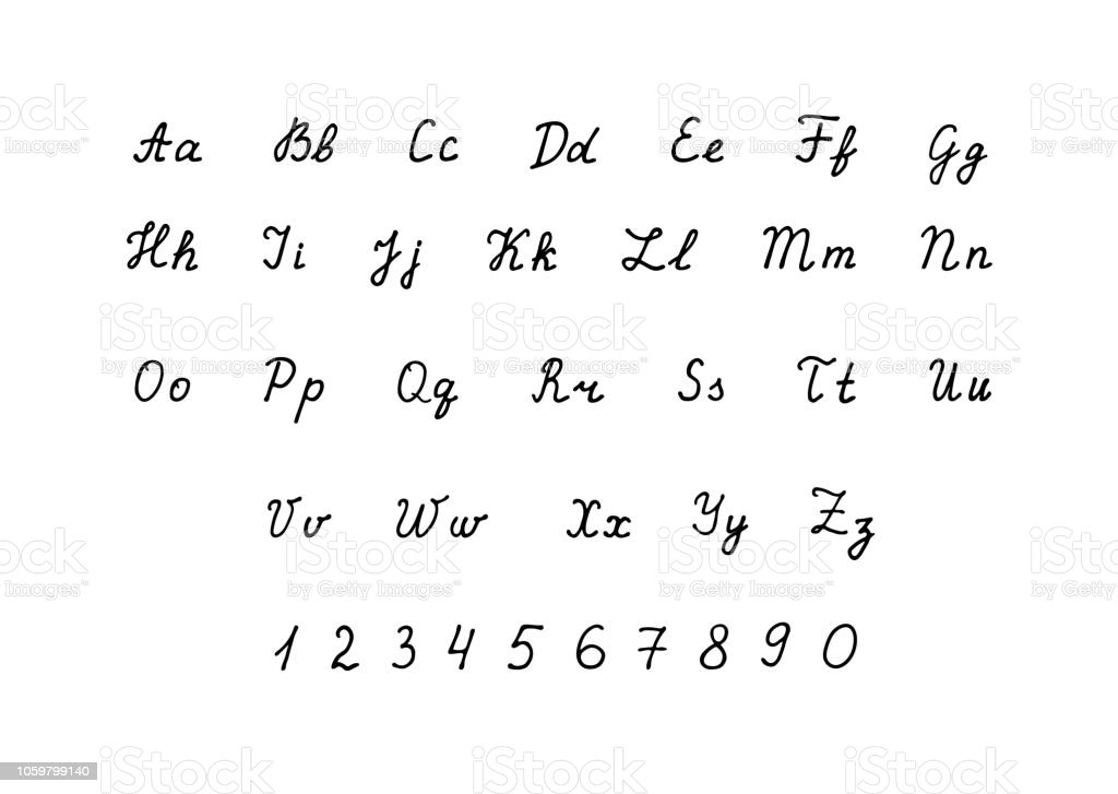 Elle çizilmiş Vektör Alfabe Kaligrafi Komut Dosyası Yazı Tipi Hat