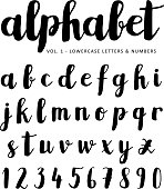 Hand drawn vector alphabet, font, isolated ink letters written