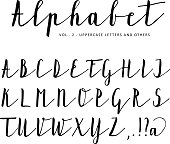 Hand drawn vector alphabet, font, isolated letters written with ink.