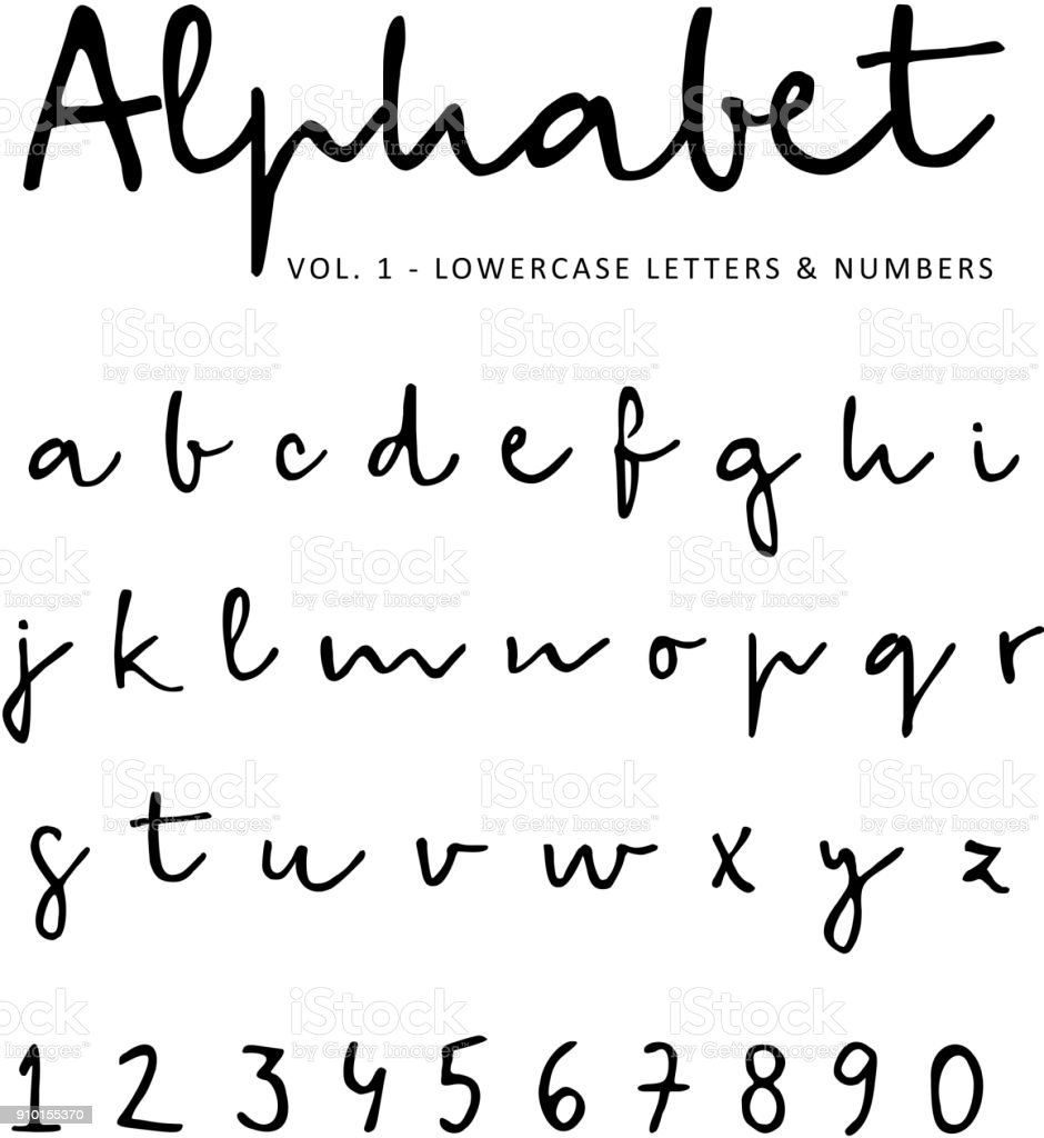 Hand drawn vector alphabet, font, isolated lower case letters and numbers written with marker or ink. Calligraphy, lettering vector art illustration