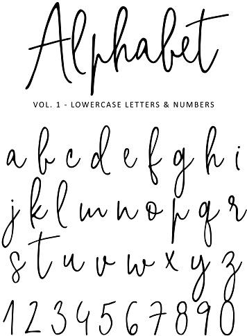 Hand Drawn Vector Alphabet Modern Monoline Signature Script