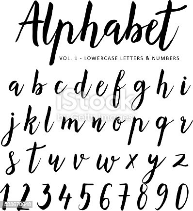 hand lettering fonts free vector alphabet script font brush font isolated 31441