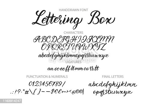 Cute hand drawn vector alphabet ABC font with letters, numbers, symbols. For calligraphy, lettering, hand made quotes.