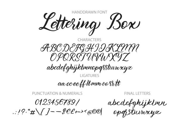 Hand drawn vector alphabet with letters, numbers, symbols. Cute hand drawn vector alphabet ABC font with letters, numbers, symbols. For calligraphy, lettering, hand made quotes. alphabet drawings stock illustrations