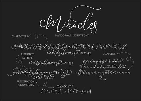 Hand drawn vector alphabet with letters, numbers, symbols.