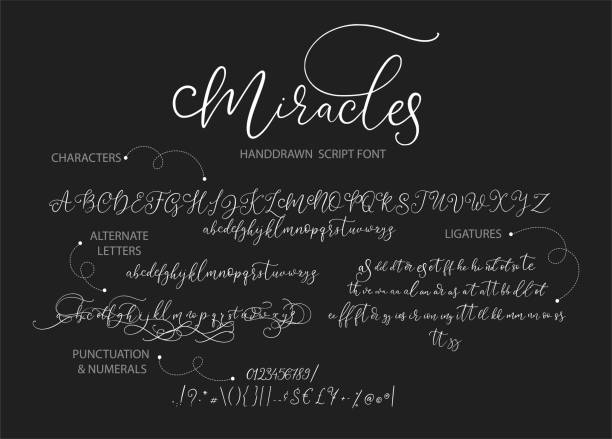 Hand drawn vector alphabet with letters, numbers, symbols. Hand drawn vector alphabet ABC with alternates, ligatures, letters, numbers, symbols. For calligraphy, lettering, hand made quotes. handwriting stock illustrations