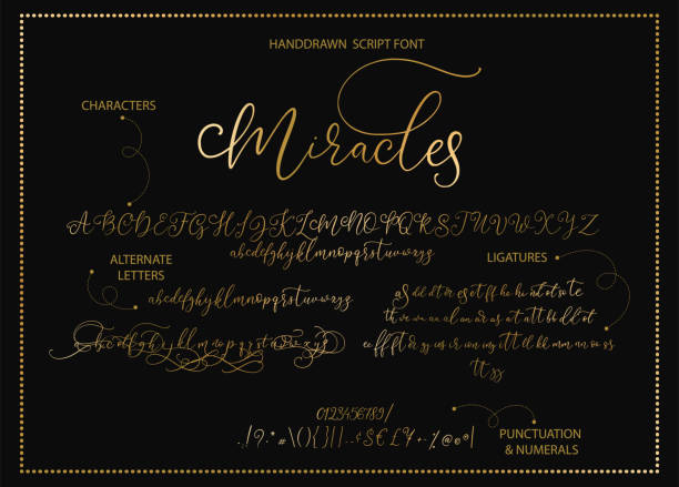 Hand drawn vector alphabet with letters, numbers, symbols. Hand drawn vector alphabet font font with letters, numbers, symbols alternates and ligatures. For calligraphy, lettering, hand made quotes. signature collection stock illustrations