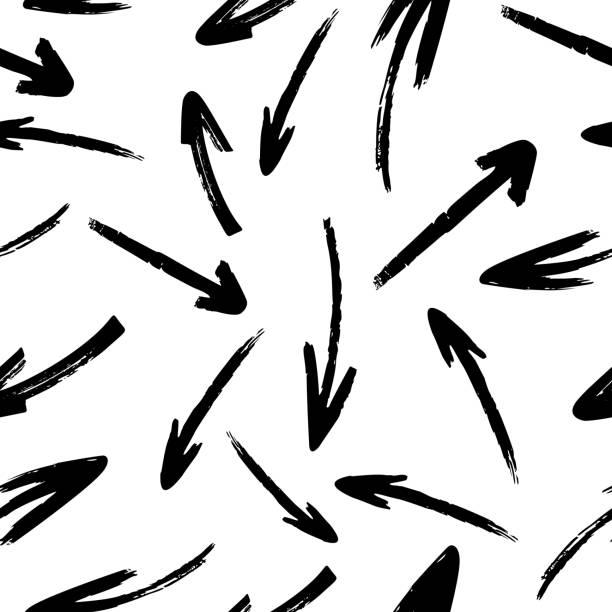 illustrazioni stock, clip art, cartoni animati e icone di tendenza di hand drawn vector arrows seamless pattern - sfondo scarabocchi e fatti a mano