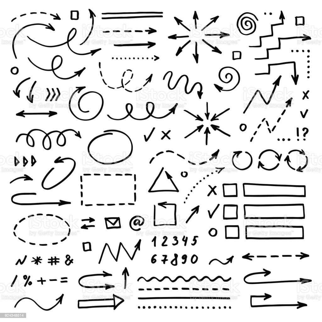 Hand drawn vector arrows set on white background. Doodle infographic design elements royalty-free hand drawn vector arrows set on white background doodle infographic design elements stock illustration - download image now