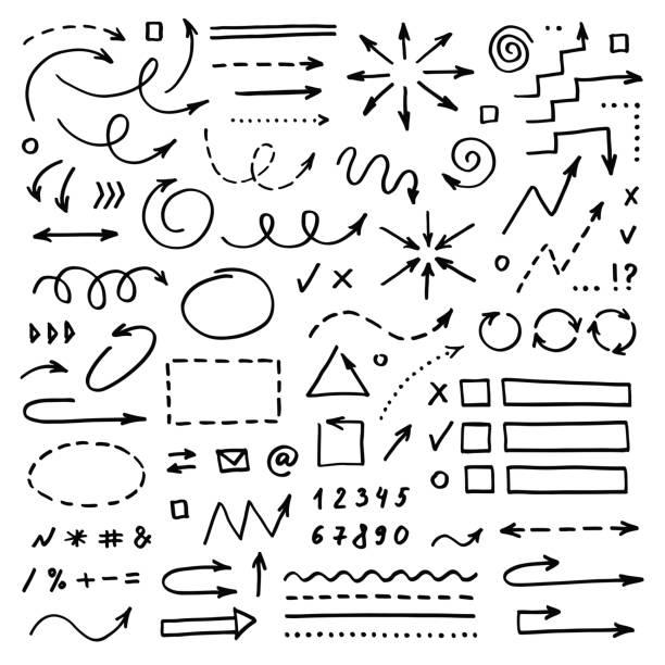 ręcznie rysowane strzałki wektorowe ustawione na białym tle. doodle infografiki elementy projektu - bazgroły rysunek stock illustrations