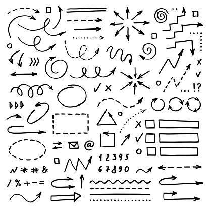 손으로 그린 벡터 화살표 흰색 배경 설정 낙서 Infographic 디자인 요소 개체 그룹에 대한 스톡 벡터 아트 및 기타 이미지