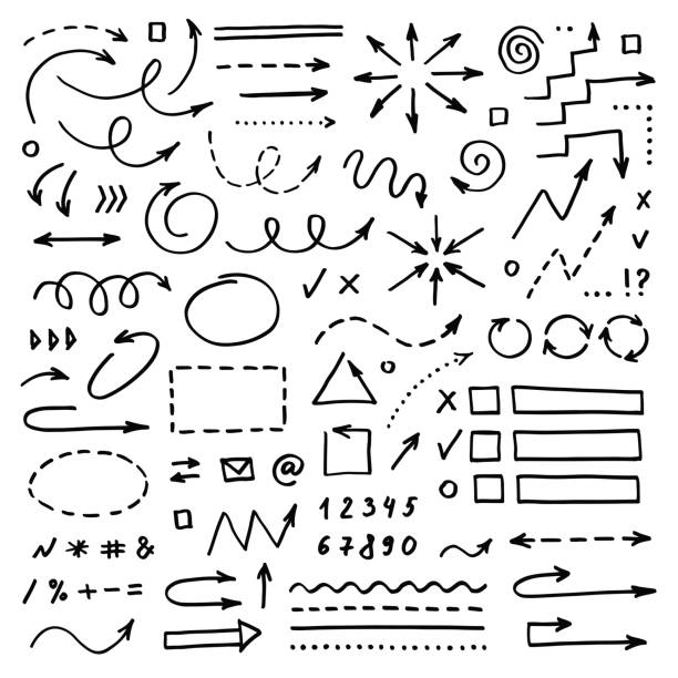 Hand drawn vector arrows set on white background. Doodle infographic design elements Hand drawn vector arrows set on white background. Doodle infographic design elements in a row stock illustrations