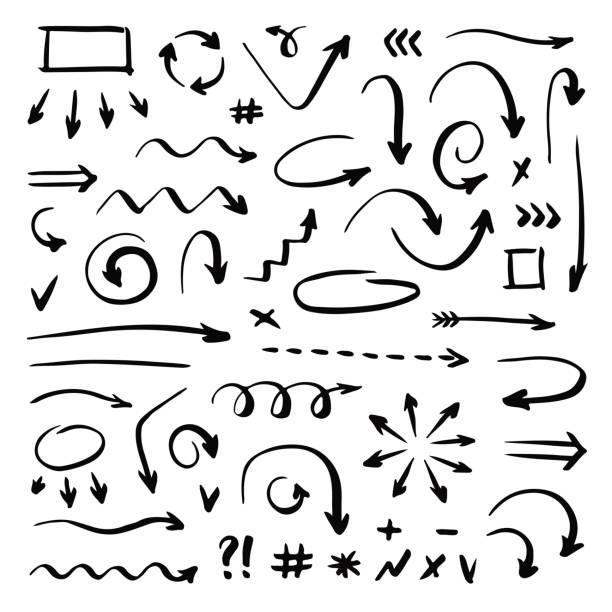 handgezeichnete vektorpfeile setzen auf weißem hintergrund. handschrift-elemente. - hausgemacht stock-grafiken, -clipart, -cartoons und -symbole