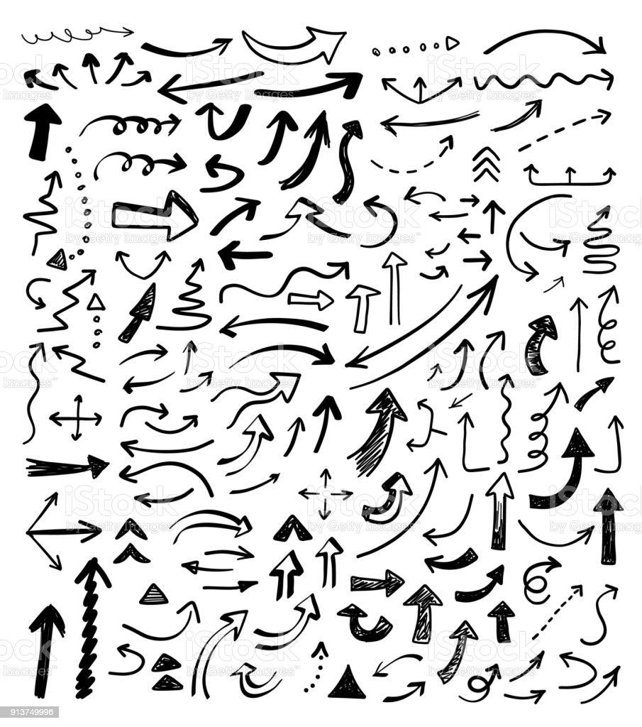 手描きベクトル矢印セット。 ロイヤリティフリー手描きベクトル矢印セット - いたずら書きのベクターアート素材や画像を多数ご用意