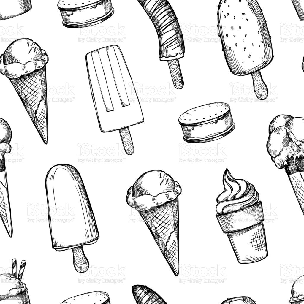 Hand drawn vector background - Collection of ice cream. Sweet seamless pattern. Illustrations in sketch style. Perfect for packing, textile, print, fabric etc vector art illustration