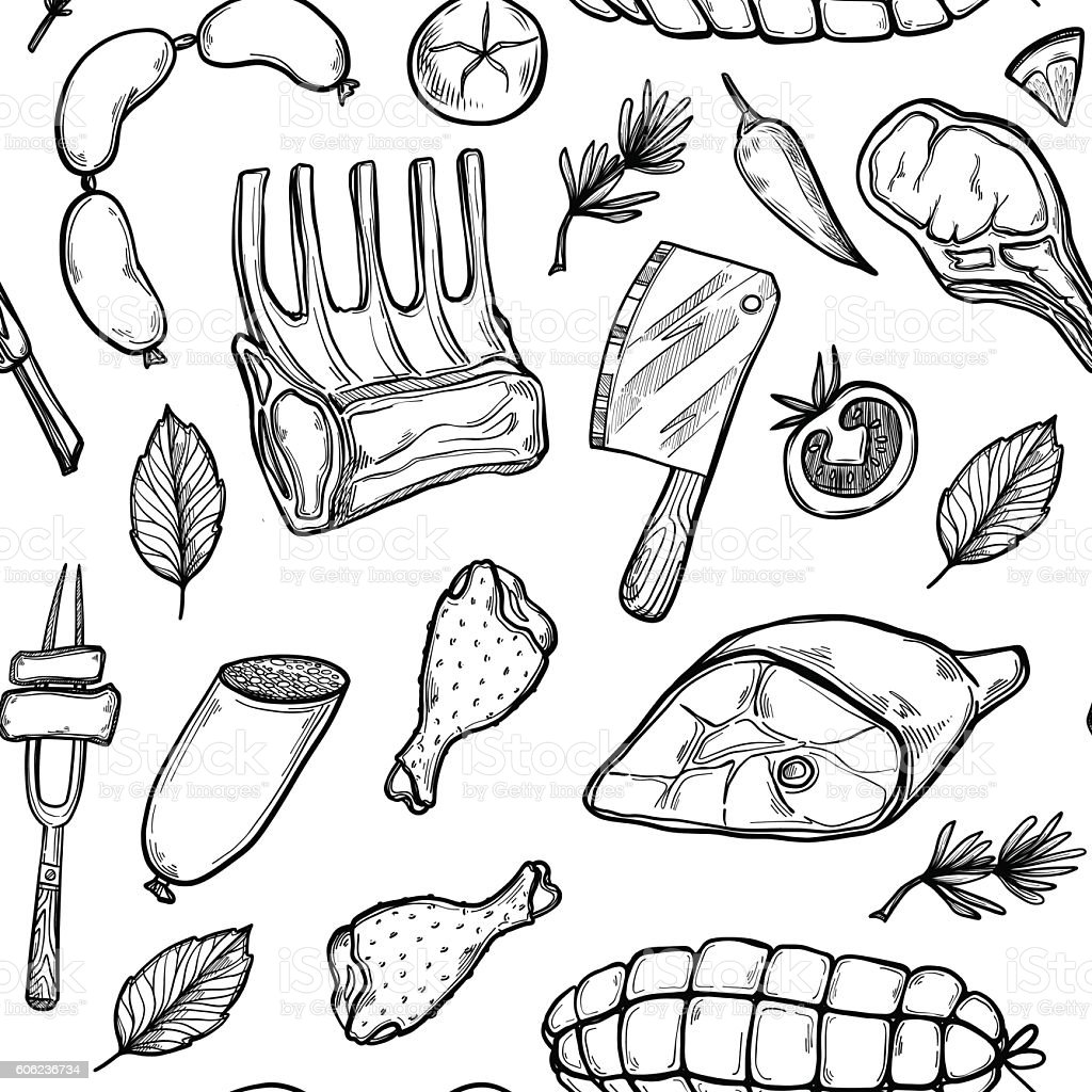Hand drawn vector background - Meat products - Illustration vectorielle