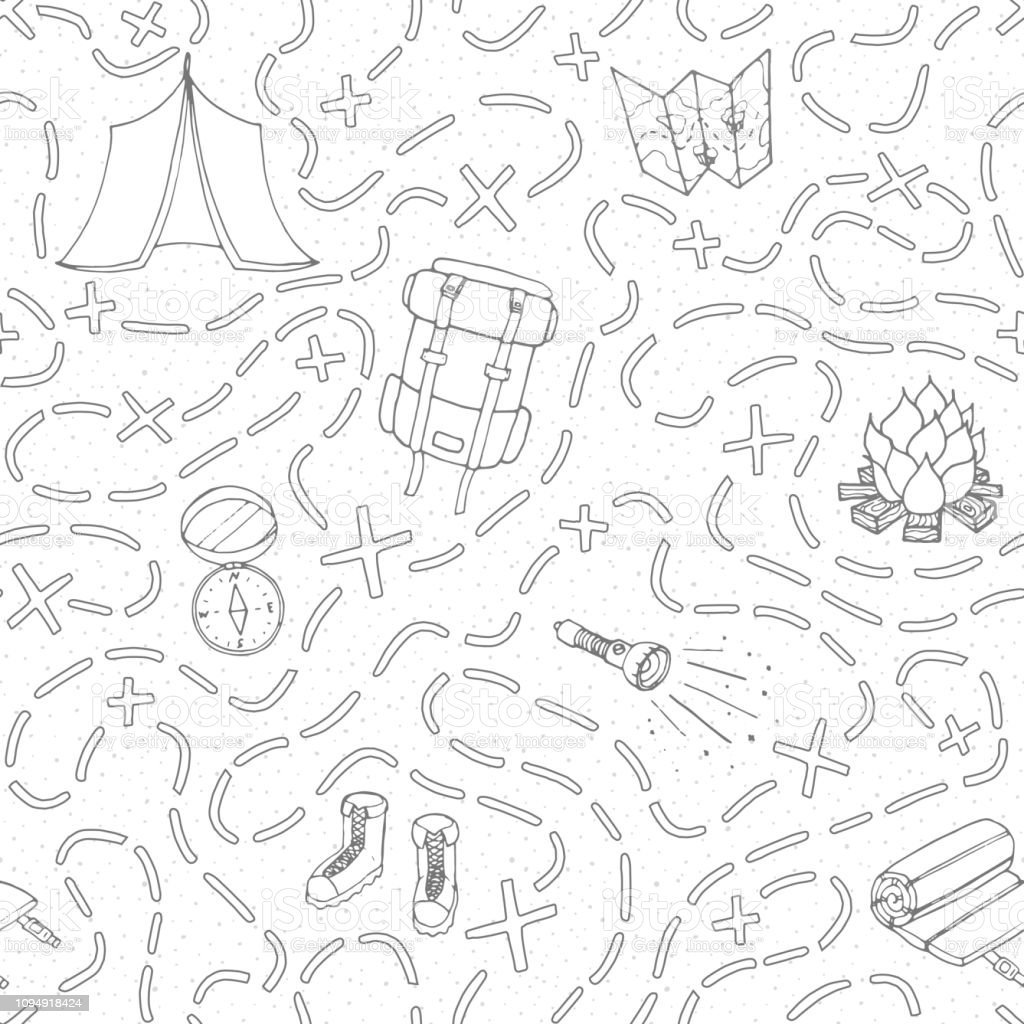 Hand drawn vector camping seamless pattern with backpack, bonfire,...