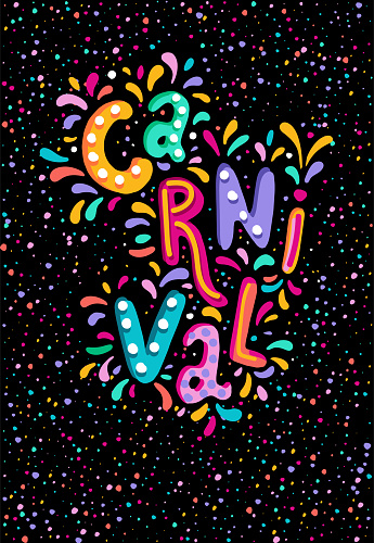 Hand drawn vector Carnival Lettering with Flashes of firework, colorful confetti. Festive title, headline banner.
