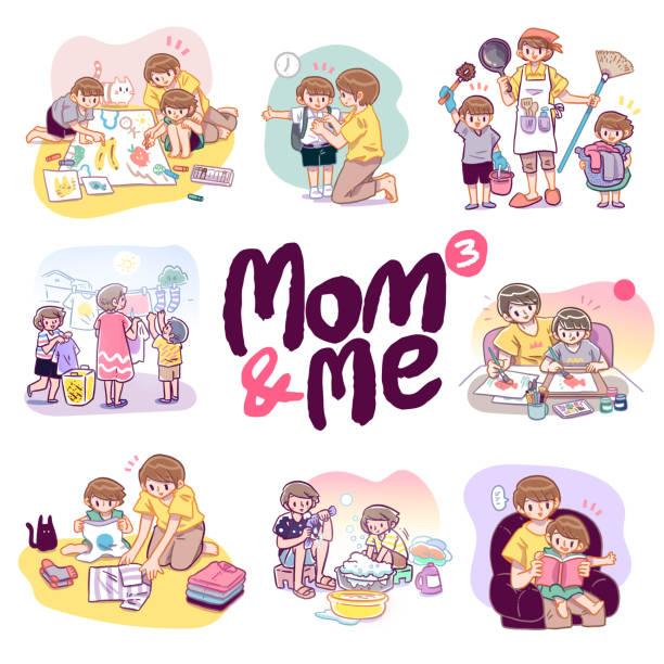 ●母子の絵描きのベクトル漫画イラストを手描きし、様々な活動を一緒に行います。 - 楽しい 洗濯点のイラスト素材/クリップアート素材/マンガ素材/アイコン素材