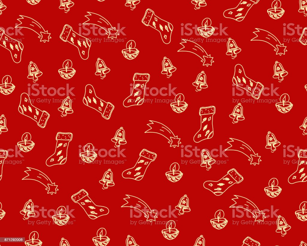 hand drawn vector christmas themes doodles isolated on red