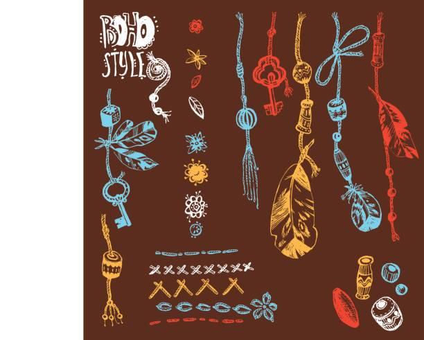 handgezeichnete vektor sammlung von boho elemente seil, perlen, kunststück - perlenweben stock-grafiken, -clipart, -cartoons und -symbole