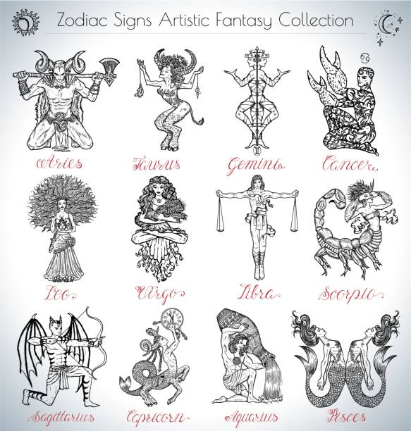 Hand drawn vector collection with fantasy Zodiac signs icons vector art illustration